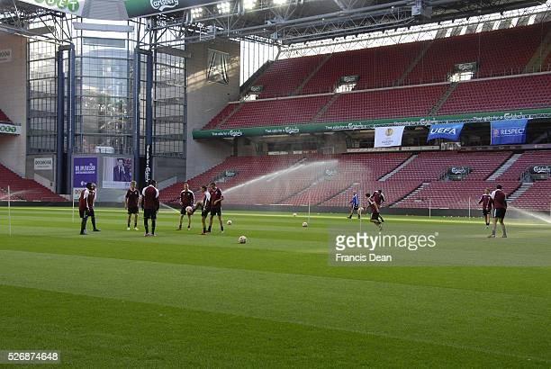 Copenhagen football club team at mixed zone practice and fo media internview at national stadium parken and also called telia paken FC Copenhagen...