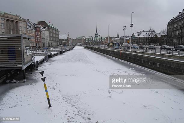 Copenhagen frozen channel due to hard winter ice frozen in holembro channe 6 February 2012