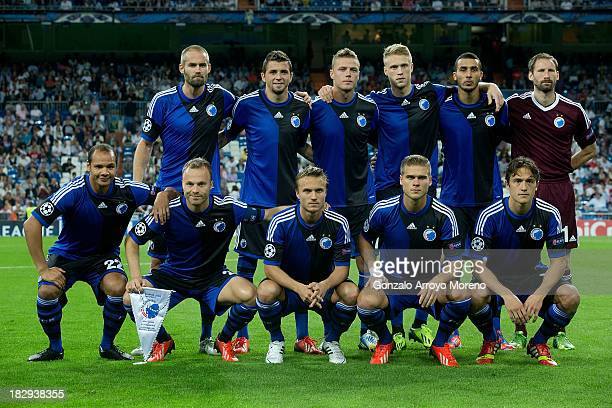 Copenhagen line up prior to start the UEFA Champions League group B match between Real Madrid CF and FC Copenhagen at Estadio Santiago Bernabeu on...