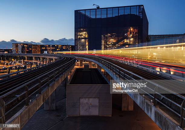 Copenhagen metro at sunset