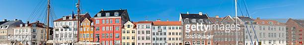 Copenhagen Nyhaven iconic colourful harbour houses super panorama Denmark