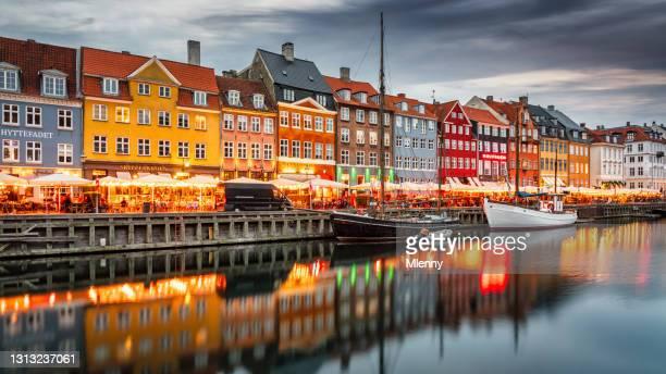 copenhagen nyhavn nightlife sunset twilight panorama denmark - copenhagen stock pictures, royalty-free photos & images
