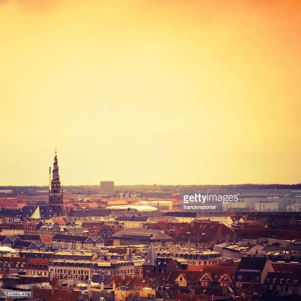 Copenhagen panoramic aerial view at dusk