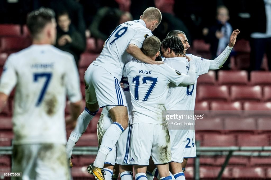 FC Copenhagen players celebrates after scoring during the UEFA Europa League group F football match FC Copenhagen v FC Fastav Zlin in Copenhagen, Denmark on November 2, 2017. / AFP PHOTO / Scanpix Denmark AND Scanpix / Mads Claus Rasmussen / Denmark OUT