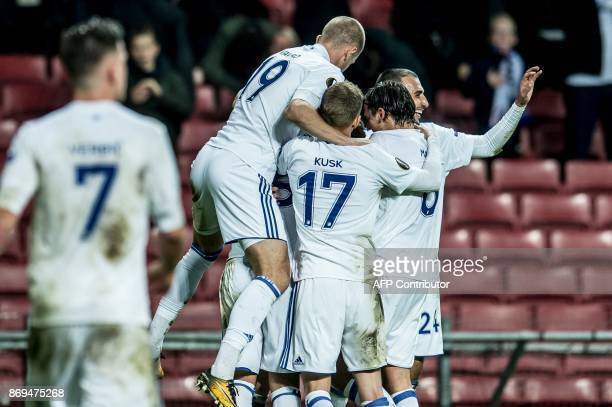 FC Copenhagen players celebrates after scoring during the UEFA Europa League group F football match FC Copenhagen v FC Fastav Zlin in Copenhagen...