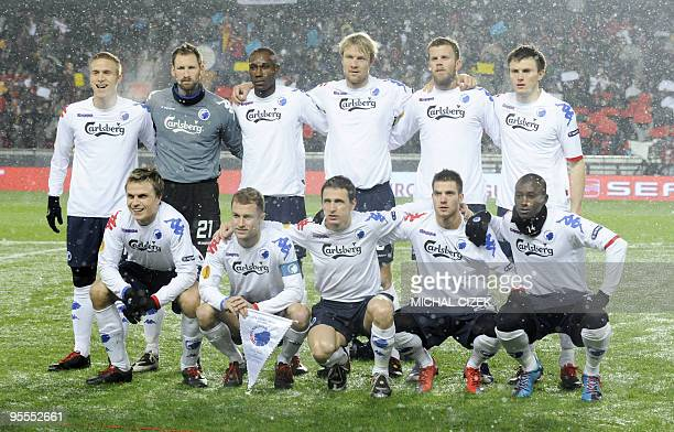 FC Copenhagen players pose prior to their UEFA Europa League Group K football match against Sparta Praha on December 16 2009 in Prague Swedish...