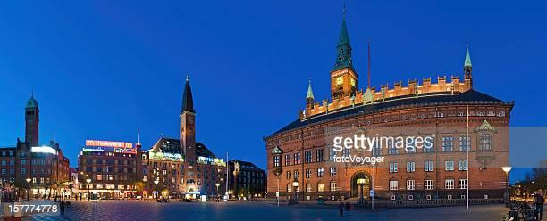 Copenhagen Rådhuspladsen City Hall Square illuminated neon night panorama Denmark
