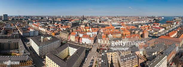 Copenhagen rooftops aerial panorama Denmark