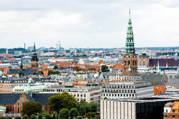 copenhagen skyline with st. nikolaj church on the right, denmark - danish culture stock pictures, royalty-free photos & images