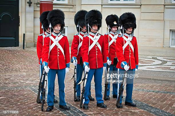 Copenhagen soldiers colourful uniforms Amalienborg Denmark