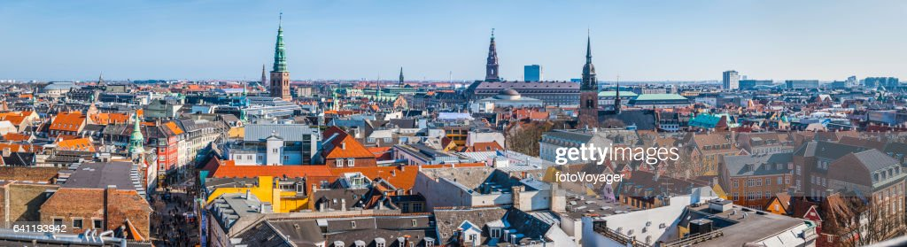 Copenhagen spires and rooftops panorama over central cityscape Denmark : Stock Photo