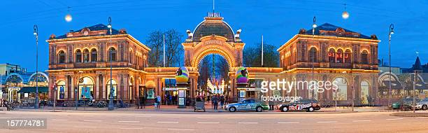 Copenhagen Tivoli Gardens amusement park illuminated entrance gate panorama Denmark