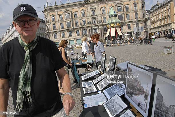 Copenhagen/Denmark/ 07 August 2015_ Danish art photographer Chresten Kruchov markets his photo arts prints at Kongens nytorv images are old and...