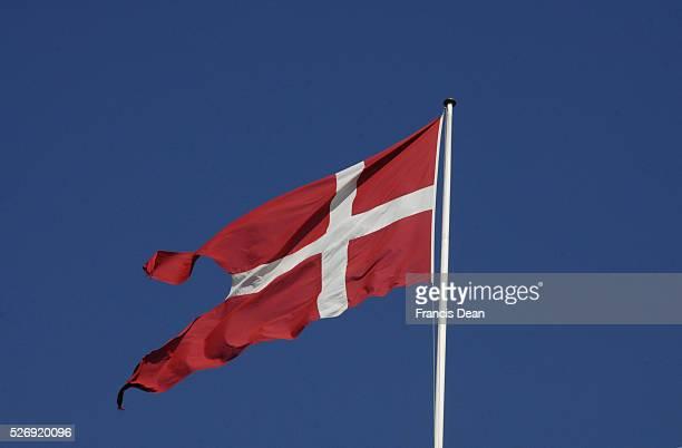 Copenhagen/Denmark/ 23 August 2015_Dannebrog red and white danish flag with cross on red sheet