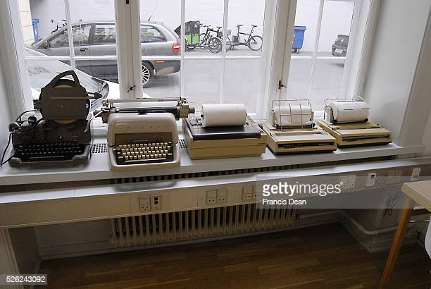 Copenhagen/Denmark/ 9th October 2015_ Old media transfer products telegraph tyring machines and telexs