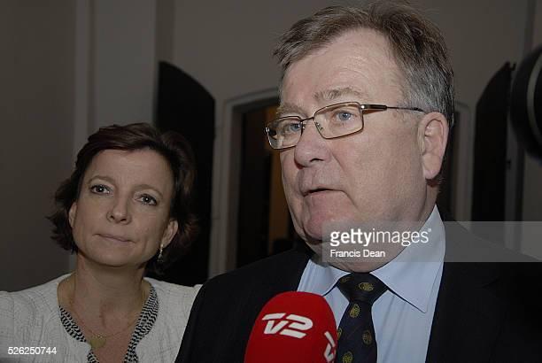 Copenhagen/Denmark/ _ 11 February 2016_Danish minister for Finance Claus Hjort Frederiksen and MsKaren EllemannJensenhome minister talking to press...