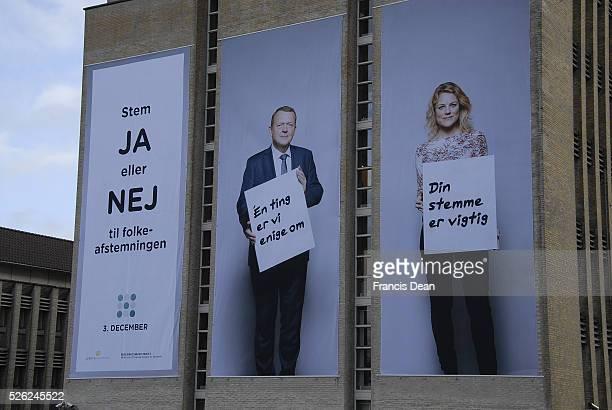 Copenhagen/Denmark/ _ 19th November 2015 _Billboard with Danish prime minister Lars Lokke Rasmussen recommends vote JA goernment and loberal party...