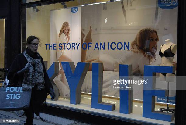 DENMARK_large billboard at illum department store on stroeget Kylie on billboard for Sloggi at public bus stops Ky��ie the story o an icon 12...