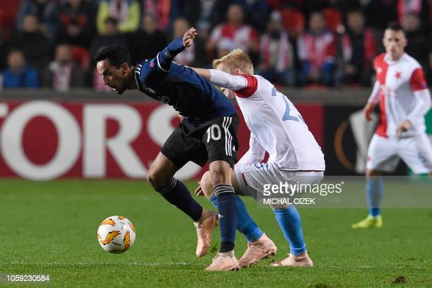 Copenhagen's Carlos Zeca and Slavia's Michal Frydrych vie for the ball during the UEFA Europa football match SK Slavia Praha vs FC Copenhagen on...
