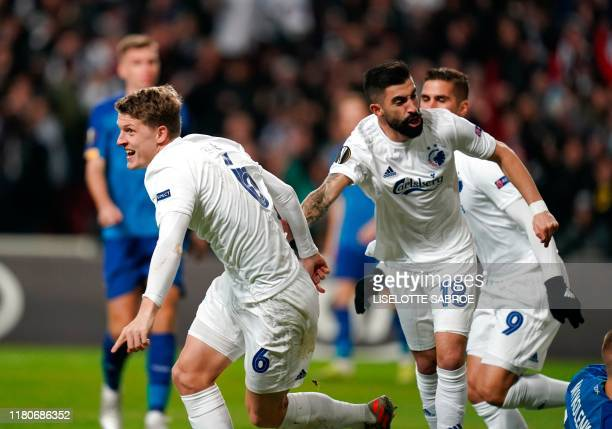 FC Copenhagen's Danish midfielder Jens Stage celebrates scoring during the UEFA Europa League Group B football match FC Copenhagen v Dynamo Kiev in...