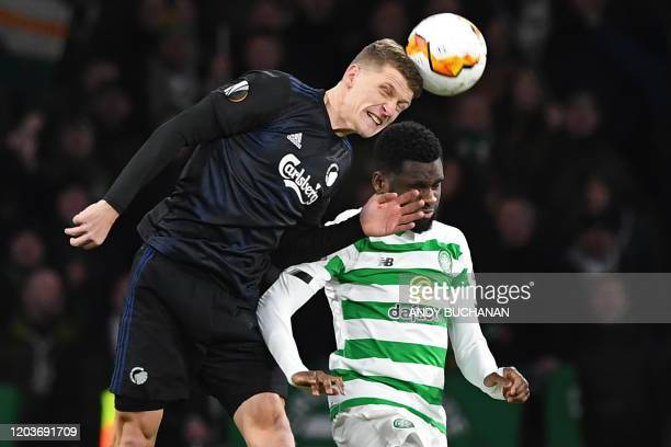 FC Copenhagen's Danish midfielder Jens Stage vies with Celtic's French striker Odsonne Edouard during the UEFA Europa League round of 32 second leg...