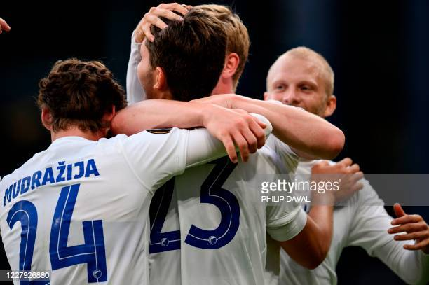 Copenhagen's Jonas Wind celebrates his second goal during the UEFA Europa League round of 16 football match between FC Copenhagen and Istanbul...