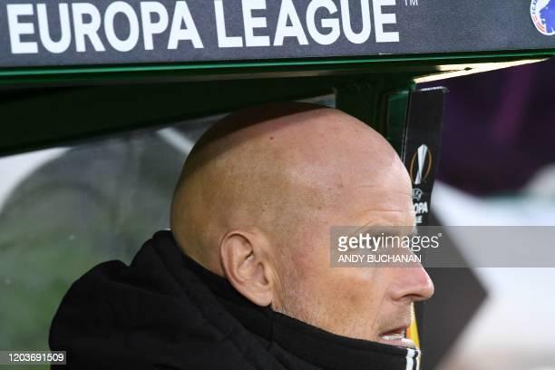 FC Copenhagen's Norwegian head coach Stale Solbakken awaits kick off in the UEFA Europa League round of 32 second leg football match between Celtic...