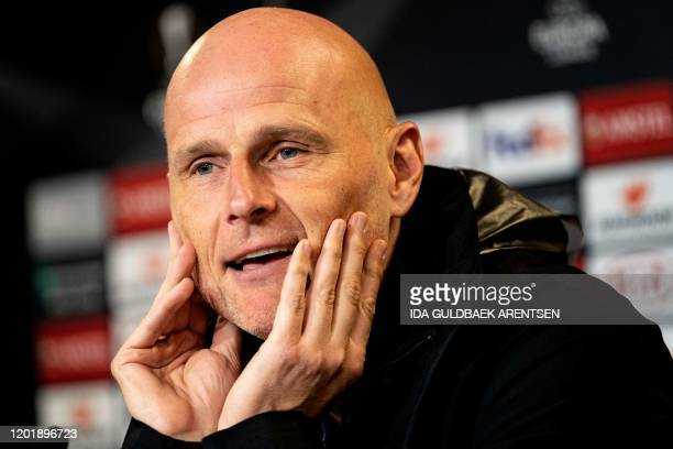 FC Copenhagen's Norwegian head coach Stale Solbakken gives a press conference on the eve of the Europa League Last 32 firstleg football match between...