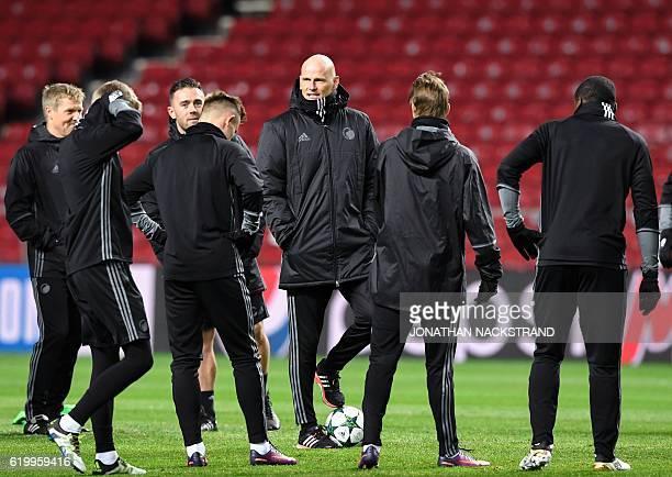 FC Copenhagen's Norwegian manager Stale Solbakken attends a training session at the Parken stadium in Copenhagen on November 1 ahead of their UEFA...