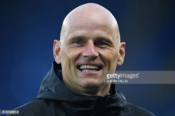 FC Copenhagen's Norweigan manager Stale Solbakken takes a training session at the King Power stadium in Leicester central England on October 17 ahead...