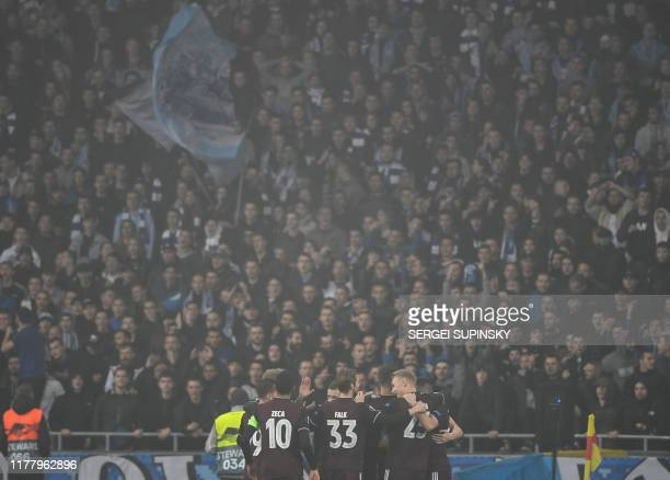 FC Copenhagen's players celebrate a goal during the UEFA Europa League Group B football match between Dynamo Kiev and FC Copenhagen in Kiev on...
