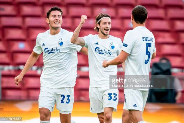 Copenhagen's players celebrates after Rasmus Falk scored after the UEFA Europa League round of 16 football match between FC Copenhagen and Istanbul...
