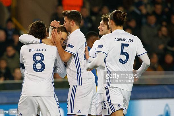 FC Copenhagen's players Thomas Delaney Erik Johansson celebrate after scoring during their UEFA Champions League football match at the Jan...