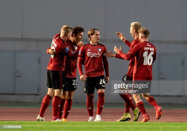 Copenhagens Robert Mudrazija celebrates scoring with his team-mates during the UEFA Europe League second qualifying round match between IFK Goteborg...