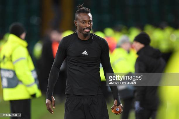 FC Copenhagen's Senegalese striker Dame N'Doye celebrates on the pitch after the UEFA Europa League round of 32 second leg football match between...