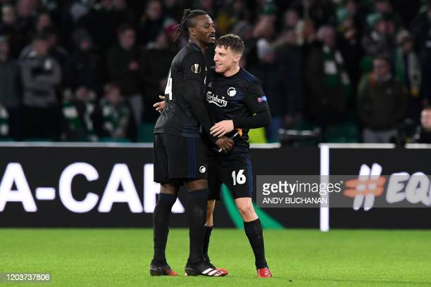 FC Copenhagen's Spanish midfielder Pep Biel celebrates with FC Copenhagen's Senegalese striker Dame N'Doye after scoring their second goal during the...