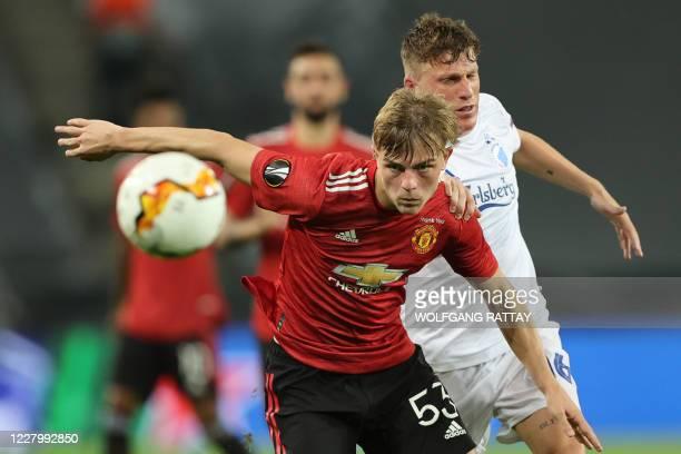 FC Copenhagen's Spanish midfielder Pep Biel vies with Manchester United's English defender Brandon Williams during the UEFA Europa League...