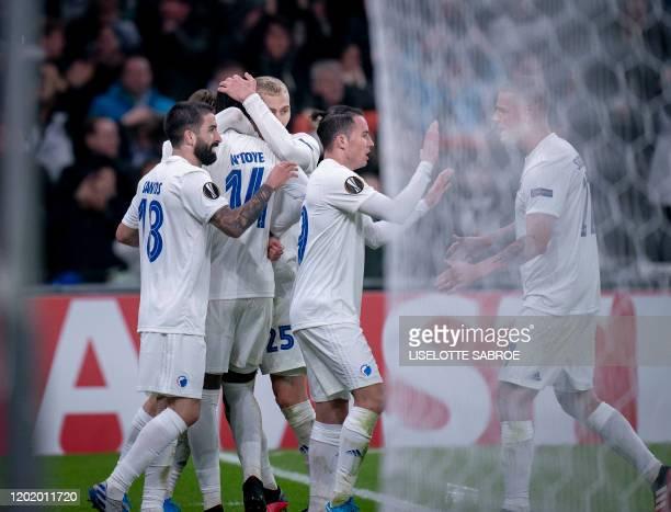 FC Copenhagen's Splayers celebrate scoring the 11 goal during the Europa League last 32 first leg football match between FC Copenhagen and Celtic in...