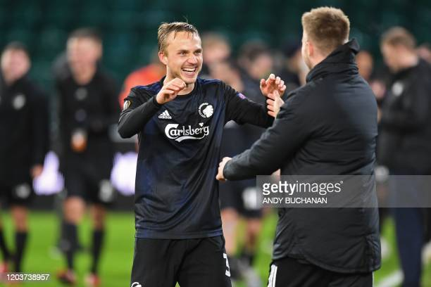 FC Copenhagen's Swedish defender Pierre Bengtsson celebrates on the pitch after the UEFA Europa League round of 32 second leg football match between...