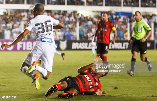 Copete of Santos receives a fault during the match between Santos and Vitoria for the Brazilian Series A 2016 at Vila Belmiro stadium on November 17...
