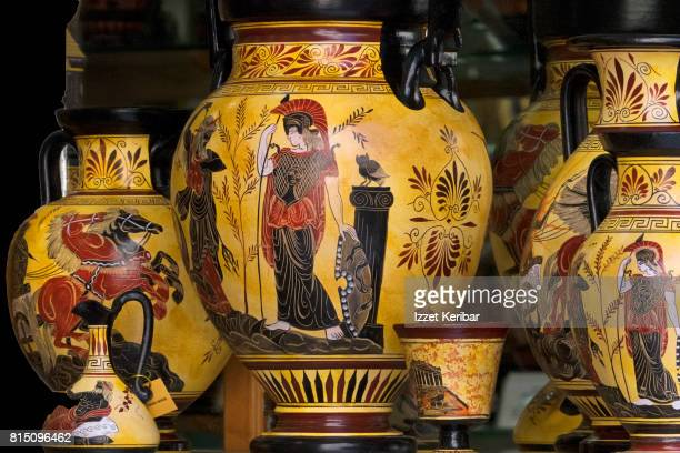 copi es of old greek antique ceramics in shop window. athens, greece - ancient greece stock pictures, royalty-free photos & images