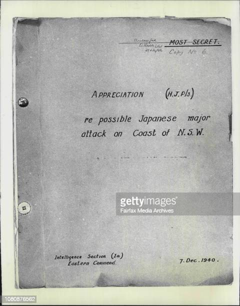 Copies from secret document dealing with a possible Japanese attack on the coast of NSW during World War II December 7 1982