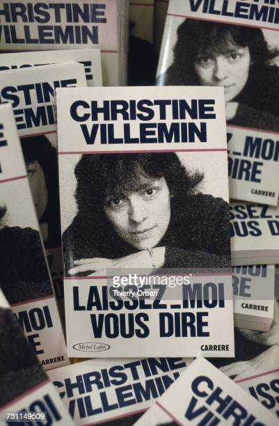 Copies of a book 'LaissezMoi Vous Dire' by Christine Villemin mother of murdered four yearold boy Grégory Villemin on the day of publication Paris...
