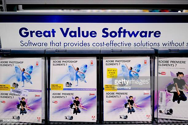 Copies of Adobe Photoshop Elements 7 software sit on sale at a Best Buy store in Atlanta Georgia US on Tuesday June 16 2009 Adobe Systems Inc the...