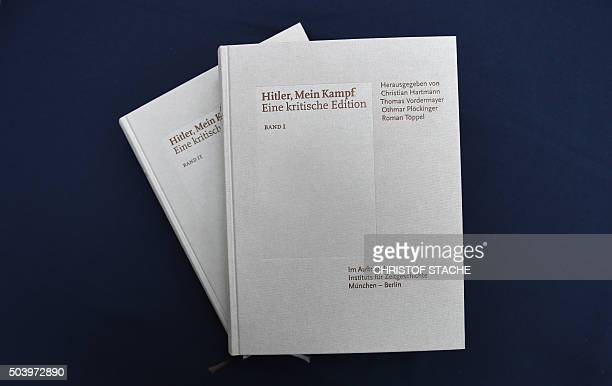 Copies of an annotated version of Adolf Hitler's book 'Mein Kampf' are pictured prior to a press conference for its presentation in Munich southern...
