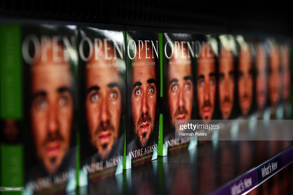 Copies of Andre Agassi's autobiography, Open, wait to be signed at Paper Plus Newmarket on January 24, 2013 in Auckland, New Zealand.