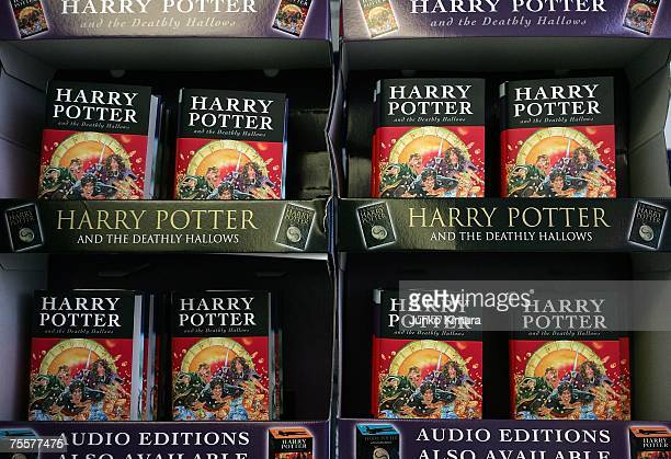 Copies of author JK Rowling's new novel Harry Potter and the Deathly Hallows are on display at Maruzen bookstore on July 21 2007 in Tokyo Japan...