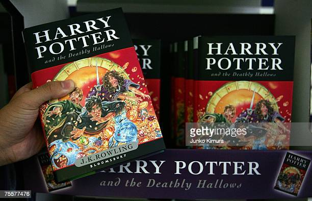 Copies of author JK Rowling's new novel Harry Potter and the Deathly Hallows is on display at Maruzen bookstore on July 21 2007 in Tokyo Japan...