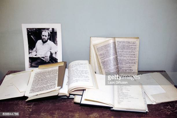 Copies of books and personal notes of Aleksandr Solzhenitsyn Soviet dissident novelist and Nobel Prize winner Russia 1994