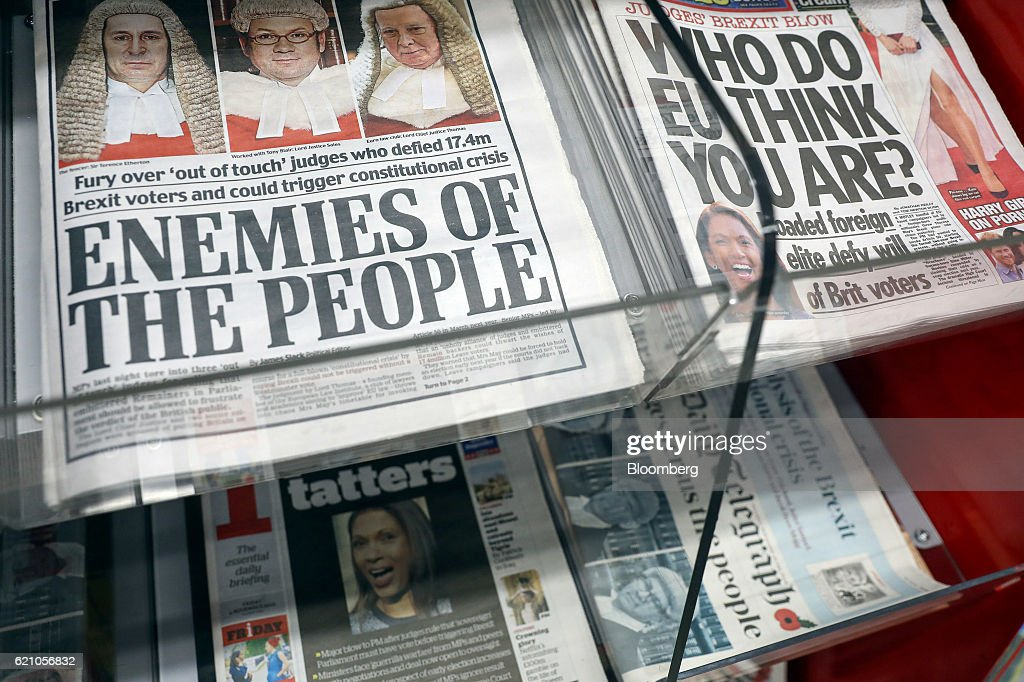 British National Newspapers As Pro-Brexit Press Rages at Enemies of the People on Court : News Photo